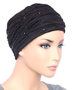 The Glamour Cap 712 Elegant Chemo Turban for by ChemoFashionScarf Chemo Hair Loss, Old Hollywood Glamour, Black Sequins, Headdress, Turban, Classic Style, Women Accessories, Cap, Elegant
