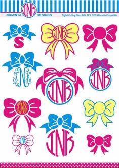 Bow Monogram SVG , Circle Monogram svg, DXF, EPS files, Cut Personal Monogram pink bow Free Monogram, Circle Monogram, Monogram Fonts, Monograms, Vinyl Crafts, Diy And Crafts, Embroidery Files, Embroidery Designs, Bows