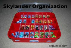 Skylander Toy Organization - LOVE this!!  The box is an ornament storage box from Wal-Mart . . .