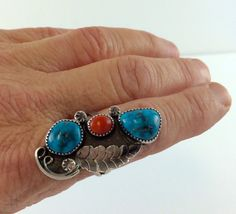 Vintage Navajo Sterling Silver Turquoise & by AntiqueJewelryForFun