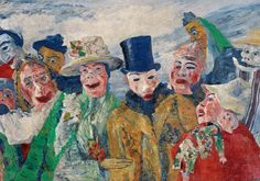 James Ensor, The Intrigue, 1890. Oil on canvas, 90 x 150 cm SYMBOLISM - an ambiguous scene. masks. awkwardness.  whats happening?