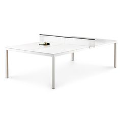 White + Black Ping-Pong Conference Table | Modern Office Furniture | Poppin