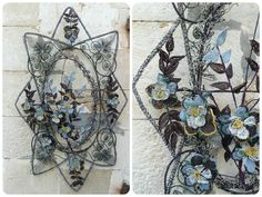 Antique Huge French glass beads wreath / funerary wreath/ beadwork/One of a kind #Frenchbeadwork