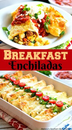 Enjoy these cheesy Breakfat Enchiladas them with your favorite taco toppings for a kickin' breakfast, brunch or breakfast for dinner meal. Breakfast And Brunch, Breakfast Dishes, Overnight Breakfast, Breakfast Food Recipes, Southern Breakfast, Brunch Dishes, Breakfast Dessert, Cheap Clean Eating, Clean Eating Snacks