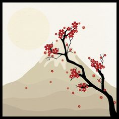 creating a nice Japanese style cherry blossom scene in Adobe Illustrator using the Blob brush, Eraser and the Ellipse tool.