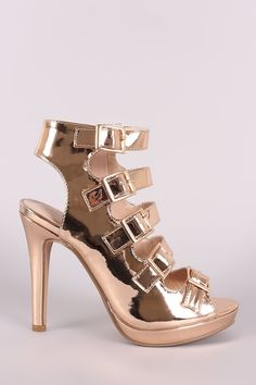 d3bd1cc971b Strappy Metallic Square Buckle Open Toe Platform Stiletto Heel