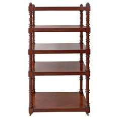 For Sale on - An English Victorian dumbwaiter or étagère in mahogany with five shelves and beautifully turned posts, resting on porcelain casters. Antique Shelves, Vintage Shelf, Vintage Storage, English Antique Furniture, Ladder Bookcase, Storage Cabinets, Decorative Accessories, Victorian, Antiques