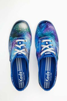 Space out in the raddest blue canvas sneakers featuring a lace-up front and cosmic space print. Looks perfect paired with a tight dress and neon shades! By Keds. Crazy Shoes, On Shoes, Me Too Shoes, Shoes Sneakers, Galaxy Shoes, Galaxy Outfit, Everyday Shoes, Sneaker Heels, Canvas Sneakers