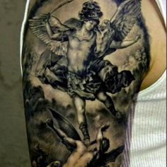 Angels vs demons tattoo from tattoo lovers.