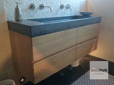 op maat gemaakt, badmeubel beton en hout