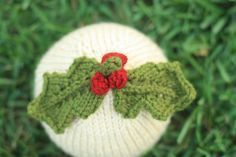 Knit Baby Hat  Holiday Holly Leaves with Berries  by BabyBirdKnits