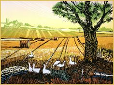 Harvested Field - Linocut  by Rob Barnes