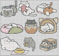 9 in 1 Neko Atsume Cross Stitch Pattern Easy by TheSoftScientist