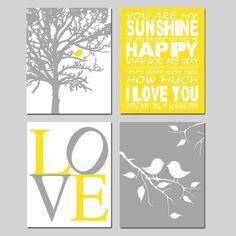 Yellow Gray Nursery Art  Baby Bird Sunshine Quad  Set by Tessyla, $65.00