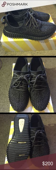 Adidas Yeezy Boost 350 'pirate black' All black Adidas Yeezy Boost 350 Size 9.5 , used , but good condition. Were well taken care of. Adidas Shoes Sneakers