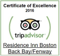 We are so proud to announce that the Residence Inn Boston Back Bay - Fenway has been awarded the 2016 Certificate of Excellence from TripAdvisor®!