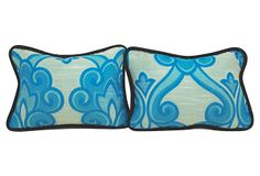 One Kings Lane - Four Quintessential California Styles - Blue Swirl   Boudoir Pillows, Pair