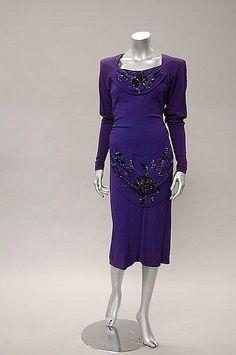 A Howard Greer deep purple crepe dinner dress, American, early 1940s,