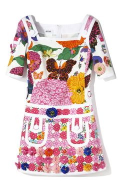 Short Sleeve Floral Embroidered Dress by Moschino for Preorder on Moda Operandi