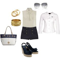 Blue is the new black for summer, created by tloney on Polyvore