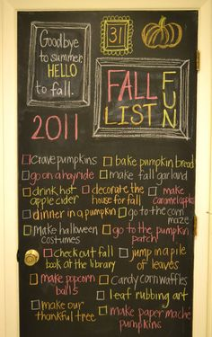 A fall bucket list! Not a bad idea for some fall-themed traditions to start.