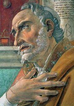 Sandro Boticelli - St. Augustine 1480 Fresco 152 x 112 cm Ognissanti, Florence