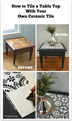 """How to Tile a Table Top With Your Own Ceramic Tiles How to Tile a Table Top With Your Own Ceramic Tile: STEP 1 – Find an old table, best to choose one that had an inset. STEP Doodle on cheap white bathroom tiles. STEP Bake them in the oven to """"set"""" the. Refurbished Furniture, Repurposed Furniture, Furniture Makeover, Painted Furniture, Furniture Projects, Furniture Making, Diy Furniture, Tile Projects, Automotive Furniture"""