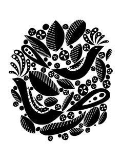 Black birds print by Jen Skelley, on Etsy