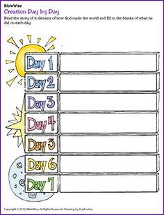 What Did God Create on Days 1-7? - Kids Korner - BibleWise                                                                                                                                                      More