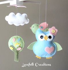 Baby Mobile - Owl baby mobile - Owl and birds mobile - Pottery Barn Brooke Bedding. $125.00, via Etsy.