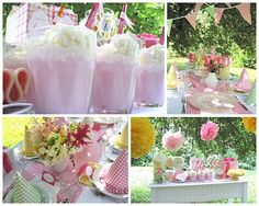 love the pink gingham party decor