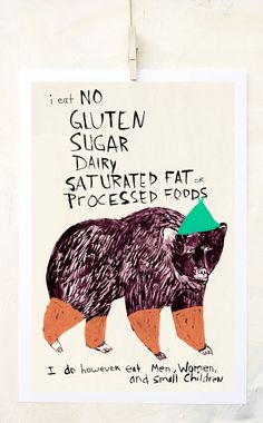 Whimsical illustration w gluten free humor! Humor Mexicano, Arte Popular, Kitchen Art, Kitchen Decor, Sans Gluten, Gluten Free, Funny Animals, Illustration Art, Animal Illustrations