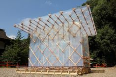 Structure built by Japanese architect Kengo Kuma using cedar beams, plastic strips and interlocking magnets