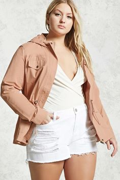 Product Name:Plus Size Utility Jacket, Category:CLEARANCE_ZERO, Price:29.9