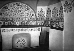Traditional kitchen ornamented by folk art . From Eastern Slovakia. Kitchen Ornaments, Closer To Nature, Traditional Kitchen, Cartography, Vintage Pictures, Old Photos, Old Things, Architecture, Artwork