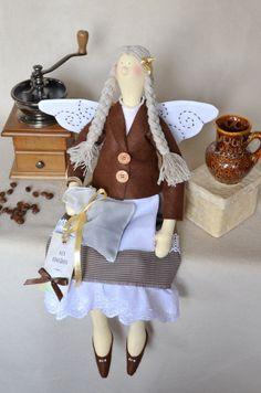 tilda Coffee Fairy handmade doll por OksanaGryts en Etsy, $48,00