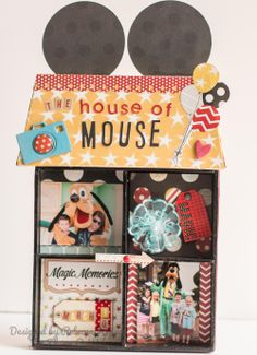 The House of Mouse - Scrapbook.com  Adorable way to use the House Shadow Box from Maya Road!