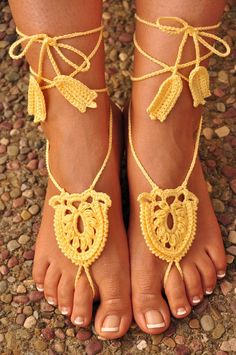 Crochet Barefoot Sandals Great Accessory for by macramemarket, $9.99