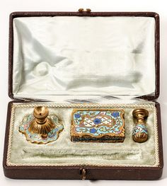 Antique French Champleve Enamel Desk Set, Candle Holder, Stamps Box, Wax Seal in Box