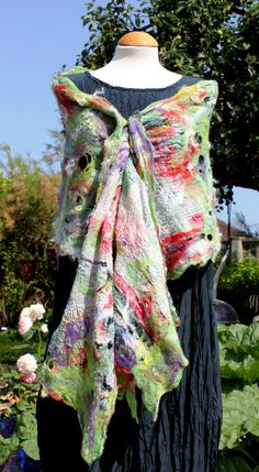 Green red purple white shawl  Nuno felted silk and by Angelab5705
