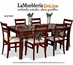 Juegos de Comedor Linea madera, para conocer los precios ingresar en el catalogo online: www.LaMuebleriaOnLine.com.ar