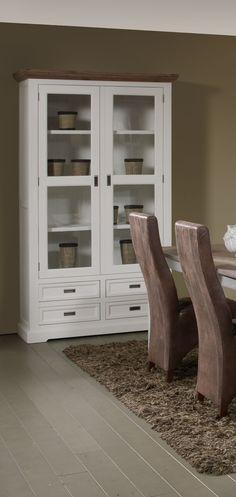 Vaisselier/argentier contemporain portes vitrées coloris havana/blanc Kiaro - Autres meubles moins cher - MATELPRO