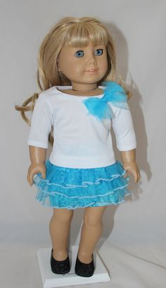 Blue Tutu Skirt made to fit American Girl and by MissyCrissy2