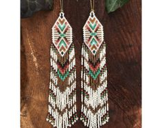 Iccovellauna...Seed bead earrings chevron by DancingWillowDesign
