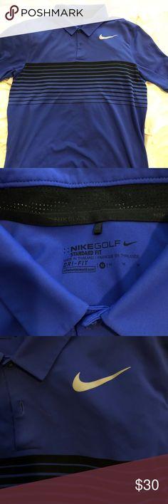 Men's Nike golf shirt Blue men's Nike golf shirt Close up of Nike symbol shows the best color  Really rich blue color with black details  Nike golf  Standard fit  Medium  Dri-fit Nike Shirts