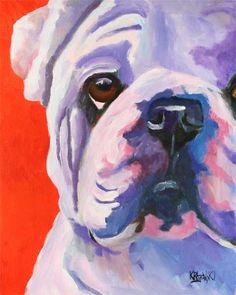Bulldog impresión del arte de la pintura de acrílico Original - 8 x 10