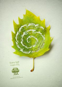 Planet for the Planet, print ad campaign by Leagas Delaney showing how CO2 is absorbed by leaves http://www.leagasdelaney.de/ #advertising #environment #green