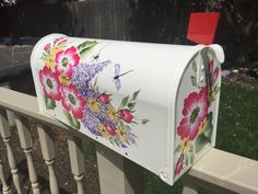 Hand painted mailbox custom ordered with red flowers and