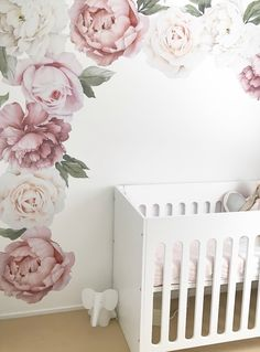 Peony and rose wall decals