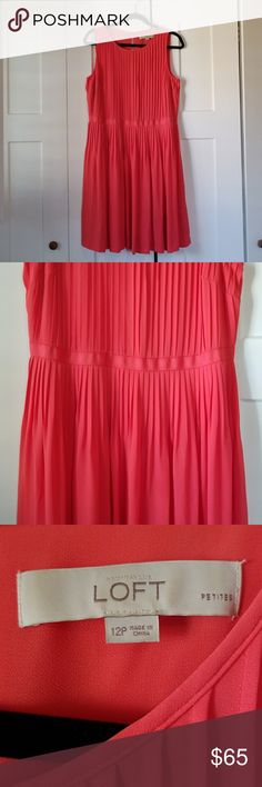 Coral Ann Taylor LOFT dress Wore once to a wedding, hits at knee and I'm 5'1... very figure flattering A line dress! Design of dress is flowy so movement while dancing! Machine Washable. Ann Taylor Dresses Wedding